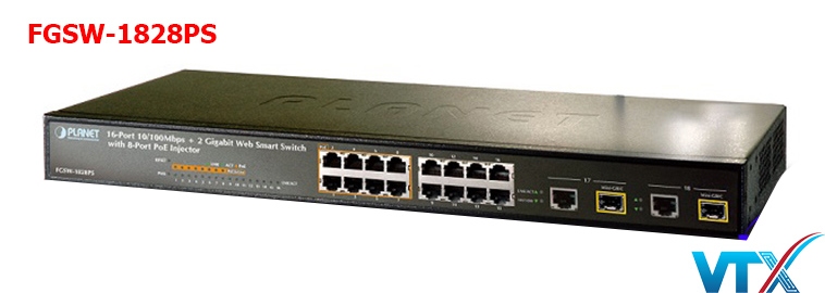 Switch mạng PoE PLANET FGSW-1828PS