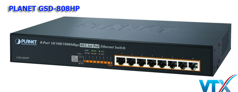 Switch mạng PoE PLANET GSD-808HP